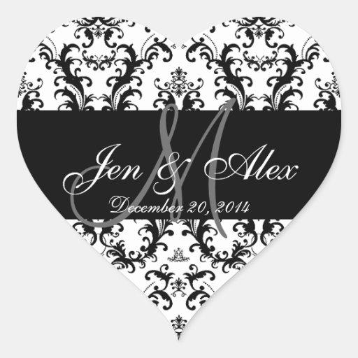 Schwarz-weiße Damast-Hochzeits-Bevorzugungs-Aufkle Herz Aufkleber