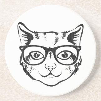 Schwarz-weiße Hipster-Katze Getränkeuntersetzer