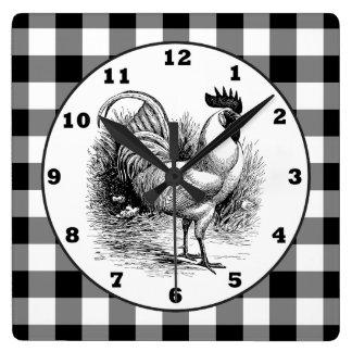 Schwarz-weiße Karouhr des Land-Hahns Quadratische Wanduhr