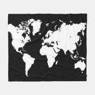 Schwarz-weiße Karte des Entwurfs 69 Welt Fleecedecke