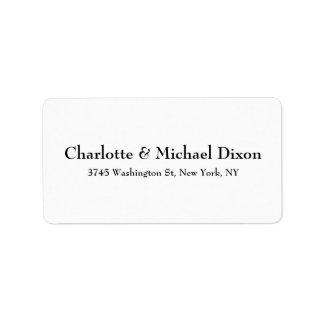 Schwarz-weiße klassische stilvolle elegante adressaufkleber