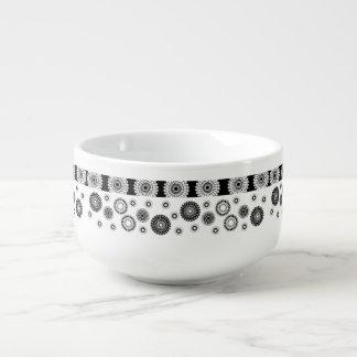 Schwarz-weiße Kreis-Muster-Suppen-Tasse Große Suppentasse