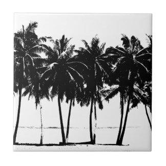 Schwarz-weiße Palme-Silhouette Keramikfliese