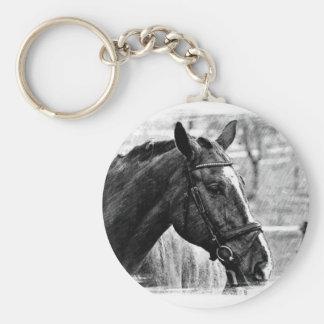 Schwarz-weiße Pferdeskizze Schlüsselanhänger