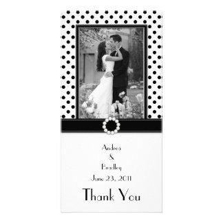 Schwarz-weiße Polka-Punkt-Hochzeits-Foto-Fotokarte