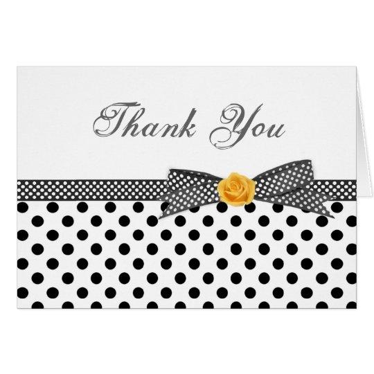 Schwarz-weiße Polkapunkt-Rose danken Ihnen zu Mitteilungskarte