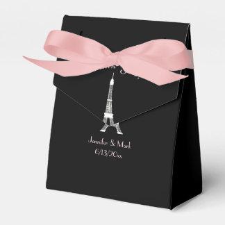 Schwarz-weiße rosa Franzose-Eiffel-Turm-Hochzeit Geschenkschachtel
