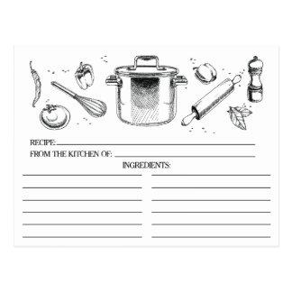 Schwarz-weiße skizzierte Küche bearbeitet Postkarte