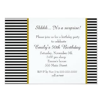 Schwarz-weiße Streifen-erwachsene 12,7 X 17,8 Cm Einladungskarte