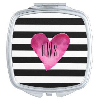Schwarz-weiße StreifenWatercolor ROSA Herz Taschenspiegel