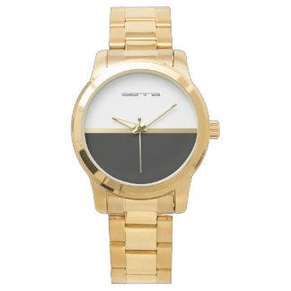 Schwarz-weiße übergroße Goldarmband-Unisexuhr Armbanduhr