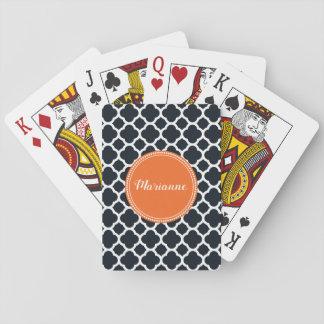 Schwarz-, weiße und Orangepersonalisierte Spielkarten