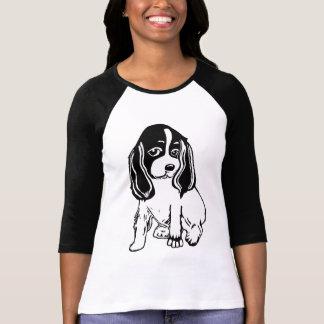 Schwarz-weißer Cockerspaniel-Damenraglan-T - Shirt