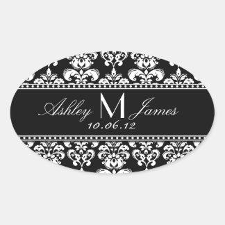 Schwarz-weißer Damast-Hochzeits-Wein-Aufkleber Ovaler Aufkleber