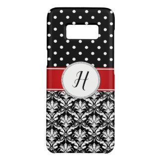 Schwarz-weißer Damast-rote Monogramm-Galaxie Case-Mate Samsung Galaxy S8 Hülle
