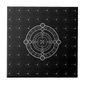 Schwarz-weißer geometrischer Ernte-Kreis Kleine Quadratische Fliese
