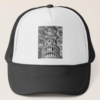 Schwarz-weißer lehnender Turm von Pisa Italien Truckerkappe