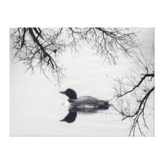 Schwarz-weißer Loonsee Leinwand-@ Leuchtturm-Weg Galerie Gefaltete Leinwand
