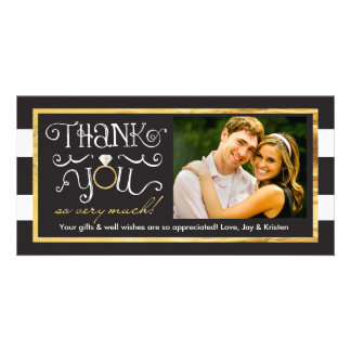 Schwarz-weißer Streifen-Hochzeits-Ring danken Karte