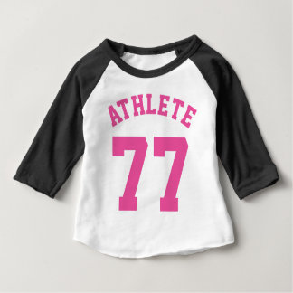 Schwarz-weißer u. rosa Sport-Jersey-Entwurf des Baby T-shirt