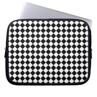 Schwarz-weißes Diamant-Karomuster Laptopschutzhülle