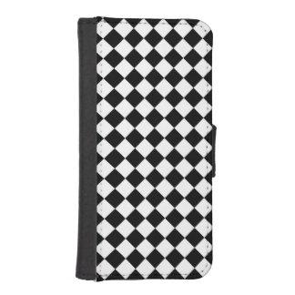 Schwarz-weißes Diamant-Schachbrett iPhone SE/5/5s Geldbeutel