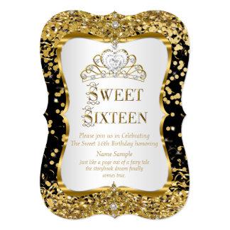Schwarz-weißes Gold Tiara-Prinzessin-Sweet 16 12,7 X 17,8 Cm Einladungskarte