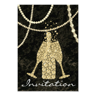Schwarz-weißes Goldglas-Blasen-Champagne-Rösten Karte