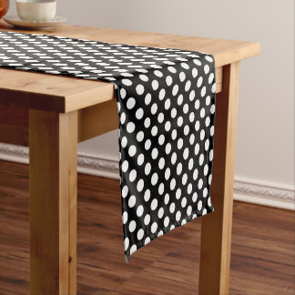 Schwarz-weißes großes Polka-Punkt-Muster Kurzer Tischläufer