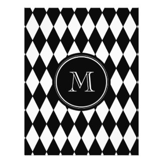 Schwarz-weißes Harlekin-Muster, Ihre Initiale 21,6 X 27,9 Cm Flyer