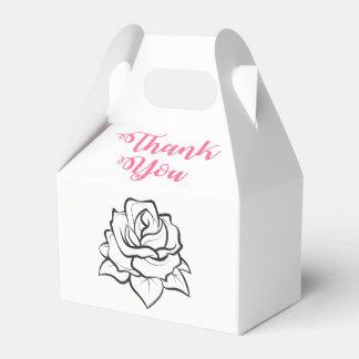 Schwarz-weißes Hochzeits-Rosen-Blumen-Rosa danken Geschenkschachtel