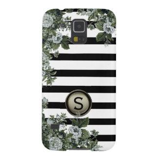 Schwarz-weißes Streifen-Grün-Blumenmotiv-Monogramm Galaxy S5 Hülle