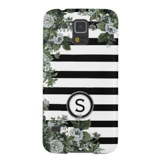 Schwarz-weißes Streifen-Grün-Blumenmotiv-Monogramm Samsung S5 Cover