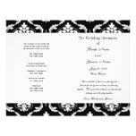 Schwarz-weißes Vintages Damast-Hochzeits-Programm Flyerdruck