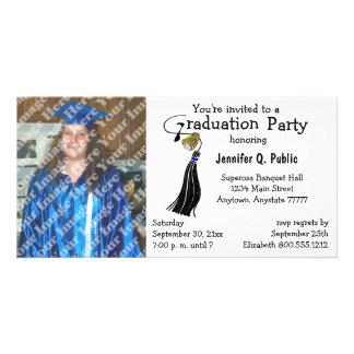 Schwarze Abschluss-Party-Foto-Einladung Photogrußkarten