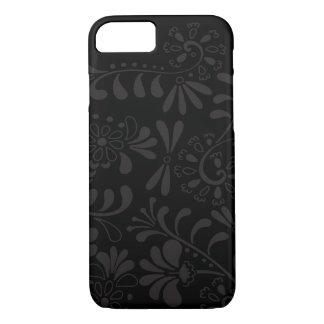 Schwarze abstrakte Blumen iPhone 7 Hülle