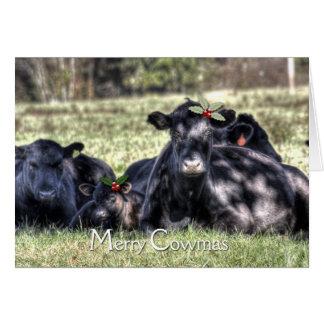 Schwarze Angus-Stechpalme fröhliche Cowmas Grüße Karte