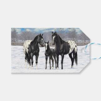 Schwarze Appaloosa-Pferde im Schnee Geschenkanhänger