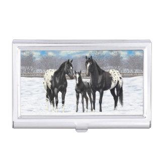 Schwarze Appaloosa-Pferde im Schnee Visitenkarten Dose