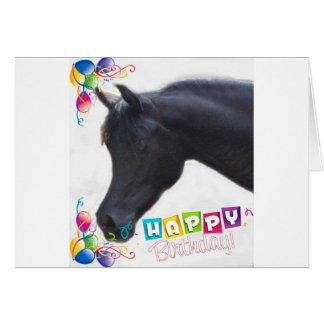 Schwarze arabische Stallions-Geburtstags-Karte Karte