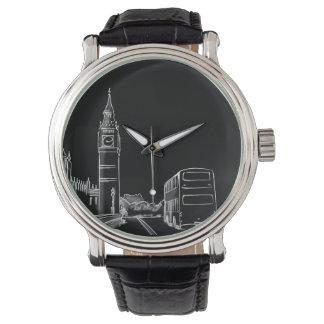 Schwarze Big Ben Skizze-stilvolles einfaches Uhr