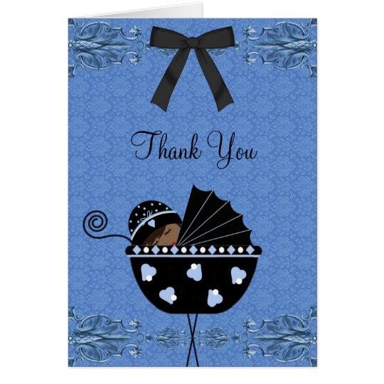 Schwarze blaue Damast-Babyparty danken Ihnen Karte