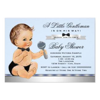Schwarze blaue kleine Mann-Babyparty Karte