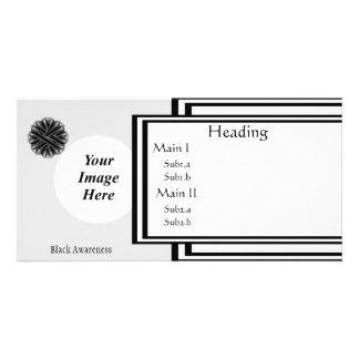 Schwarze Blumen-Band-Schablone Karte