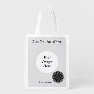 Schwarze Blumen-Band-Schablone Wiederverwendbare Tragetaschen