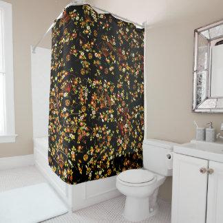 Schwarze Blumenfan-Girly Muster-Duschvorhang Duschvorhang