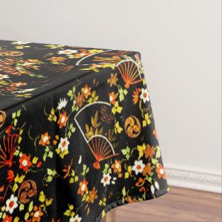 Schwarze Blumenfan-Girly Muster-Tischdecke Tischdecke