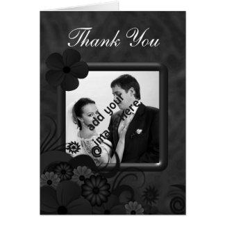 Schwarze Blumentafel-Hochzeit danken Ihnen Karten