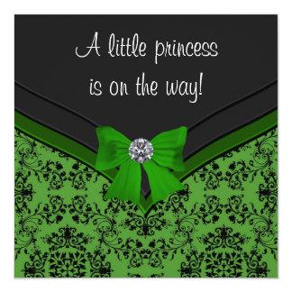 Schwarze Damast-Grün-Bogen-Prinzessin Babyparty Quadratische 13,3 Cm Einladungskarte