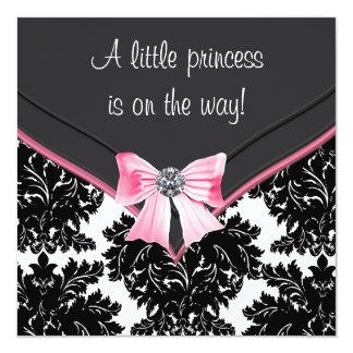 Schwarze Damast-Rosa-Bogen-Prinzessin Babyparty Personalisierte Einladung